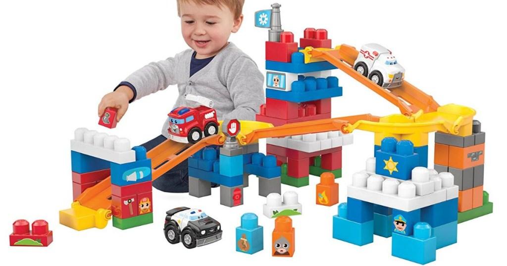 child playing with Mega Bloks