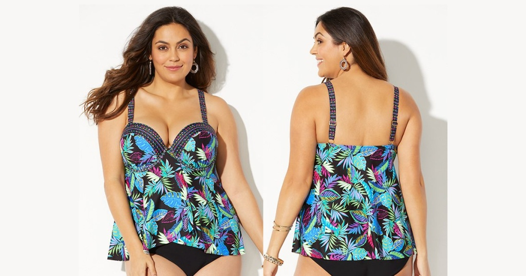 woman wearing tankini top front and back