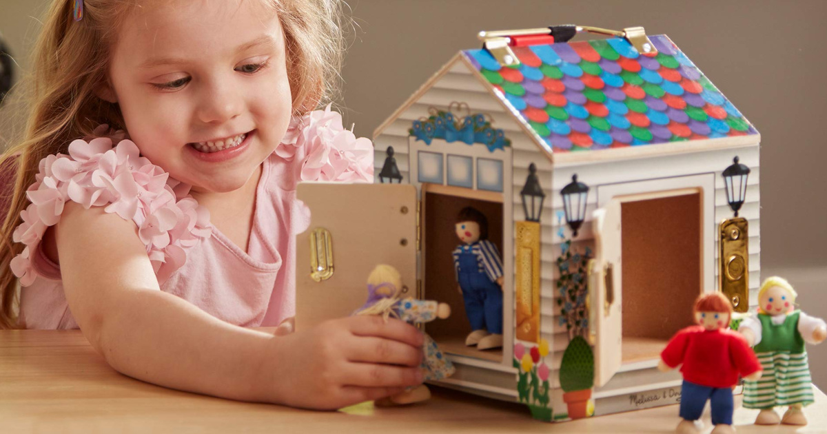 Melissa & Doug Take-Along Wooden Doorbell Dollhouse