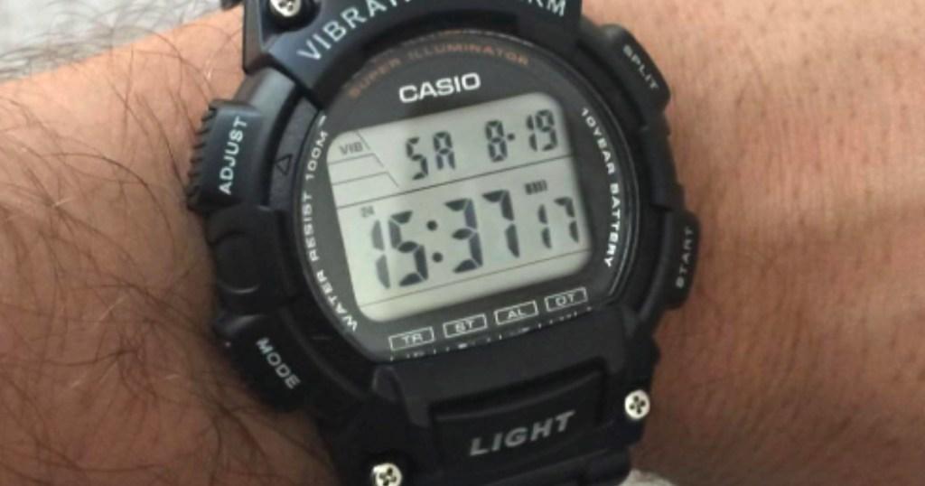 man wearing casio watch