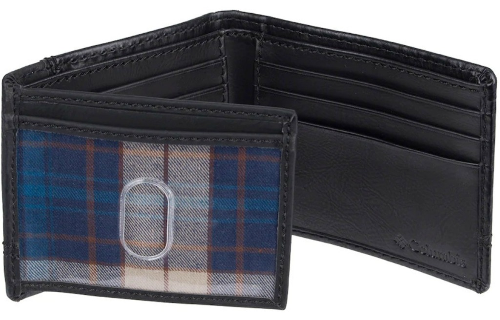 Men's tri-fold walled with plaid insert