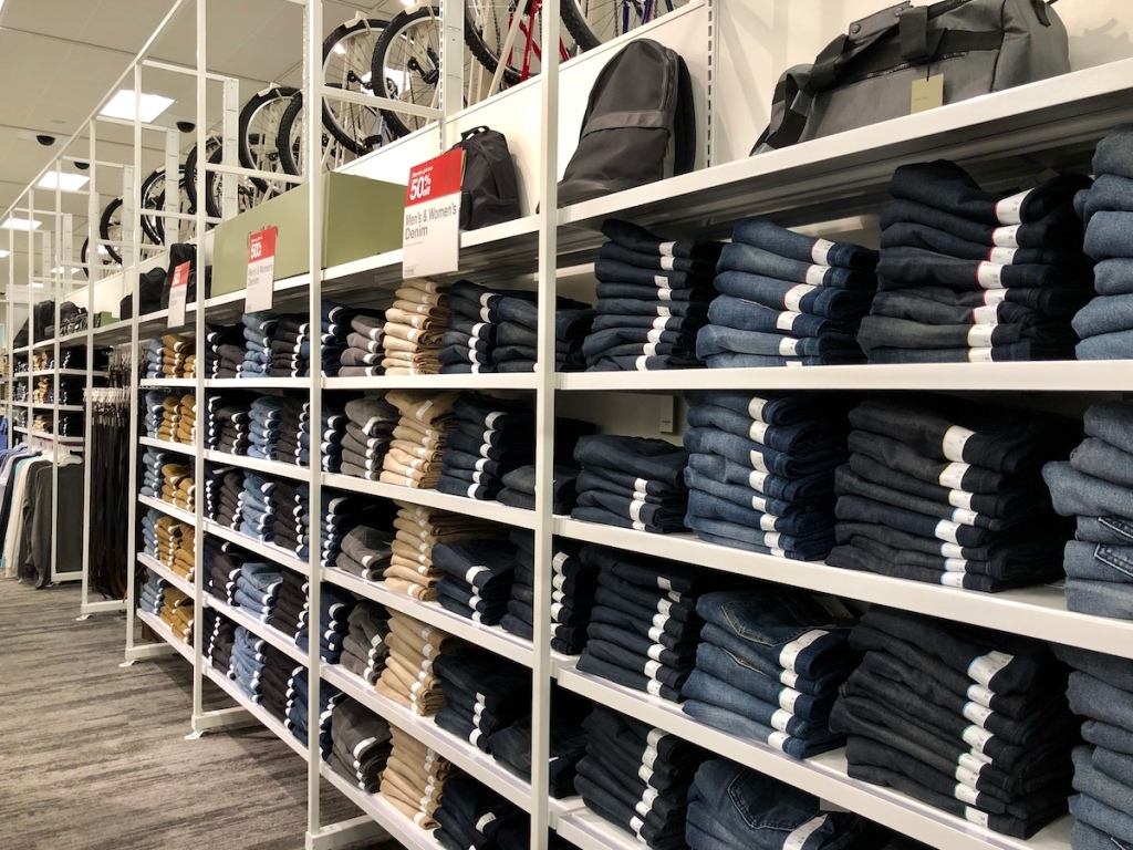 display of jeans at Target