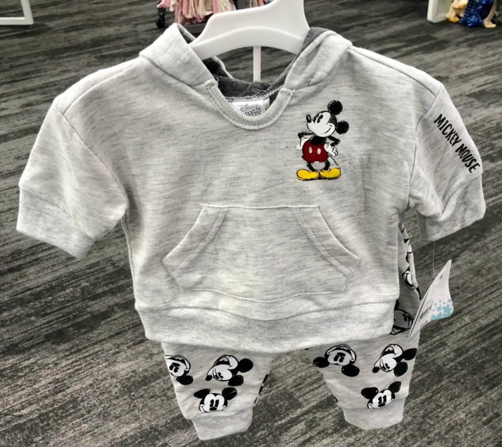 Disney's Mickey Mouse pants and hoodie in gray on hanger at Target