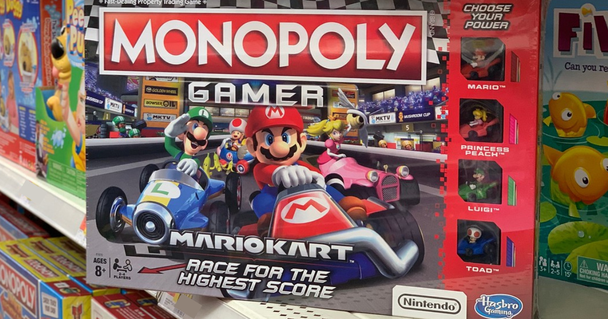 mario monopoly board game on shelf at store