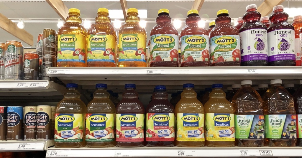 bottles of motts sensible juice on shelf at target