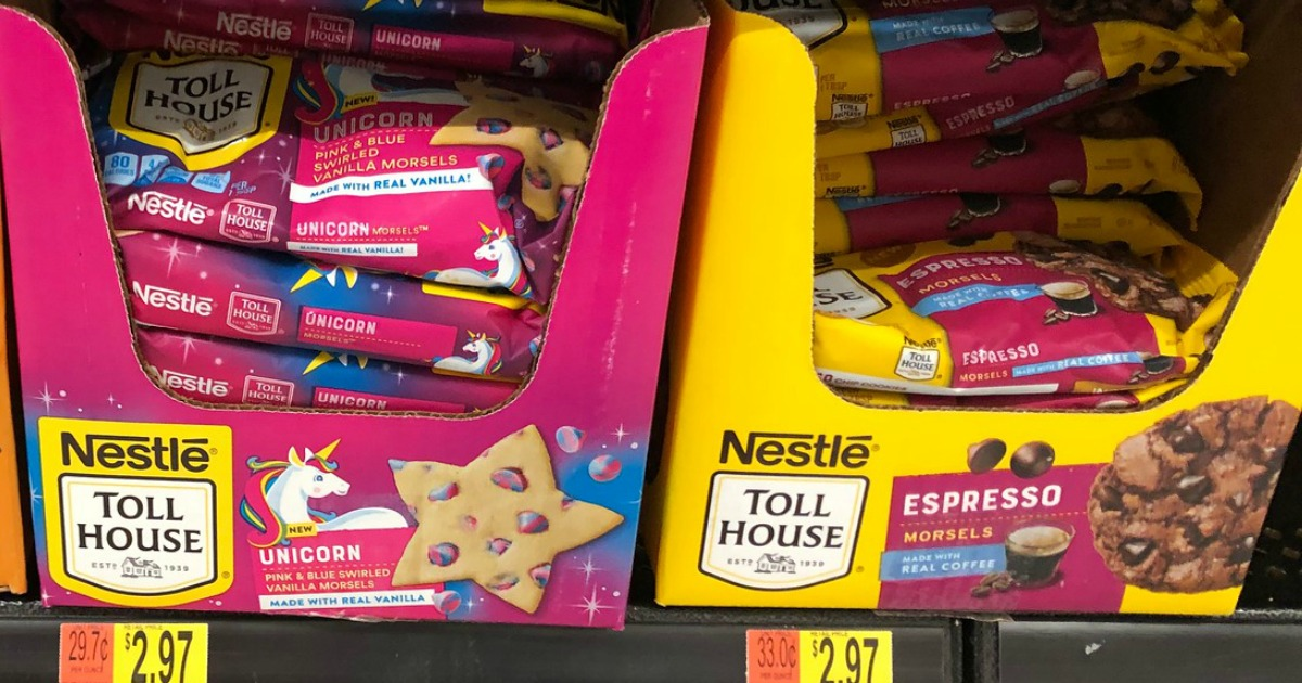 packages of Nestle Toll house Unicorn and Espresso morsels on Walmart shelf