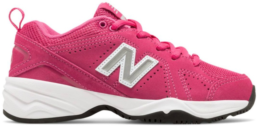 pink and white New Balance girls sneakers