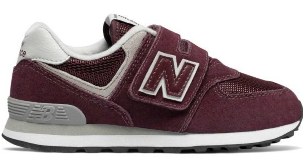 burgundy New Balance kids shoes