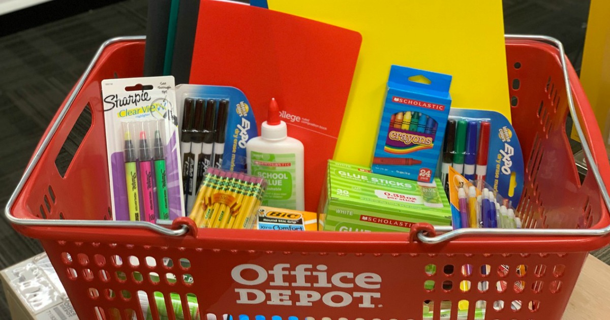 Office Depot School Supplies in shopping basket