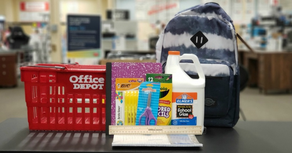 Office Depot school supplies and shopping basket on counter in-store