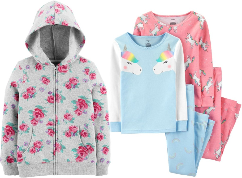 Girls Oshkosh B'gosh Hoodie and Carter's Pajamas unicorn and rose print