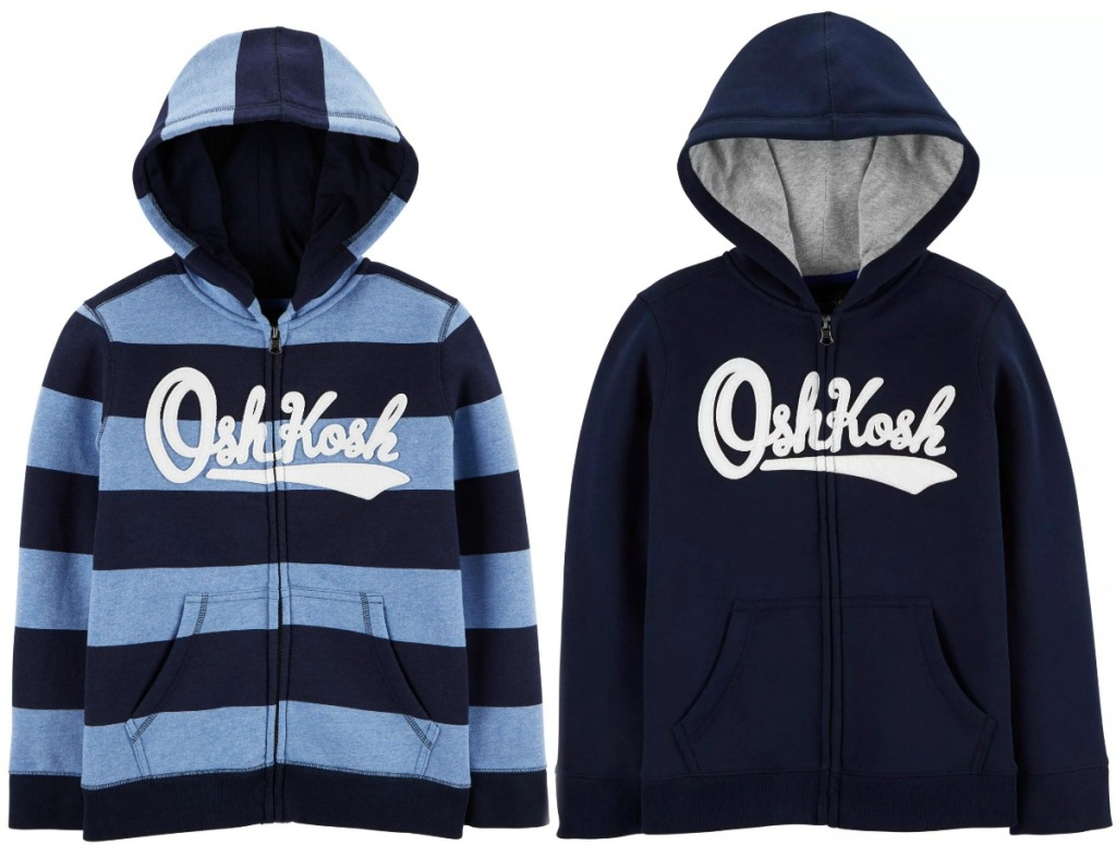 Oshkosh B'gosh logo hoodies for boys in dark blue with stripes