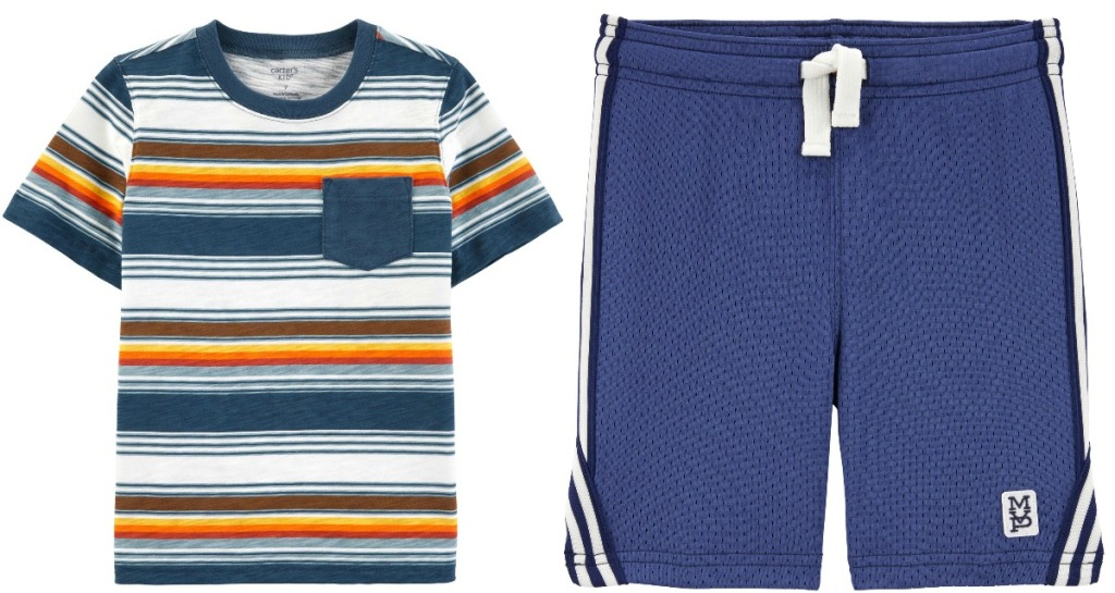 Carter's Kids Apparel in striped tee and blue mesh athletic shorts