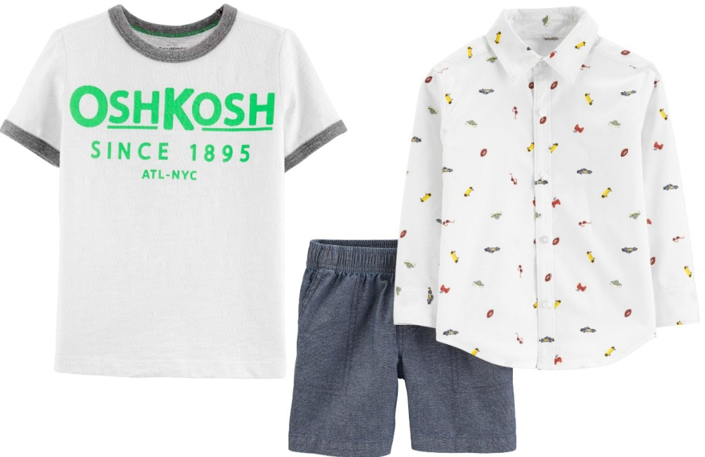Oshkosh B'gosh and Carter's brand toddler boys apparel - graphic tee, gray shorts, button up