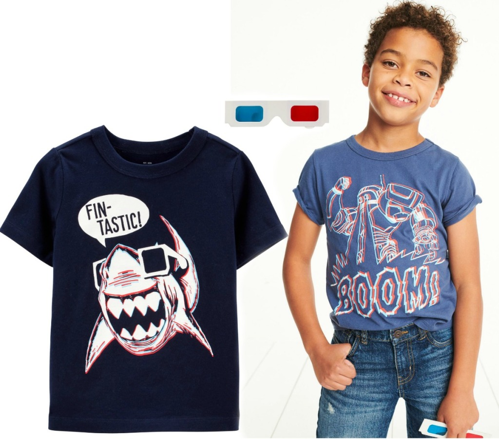 Kids wearing a 3D graphic tee from Carter's