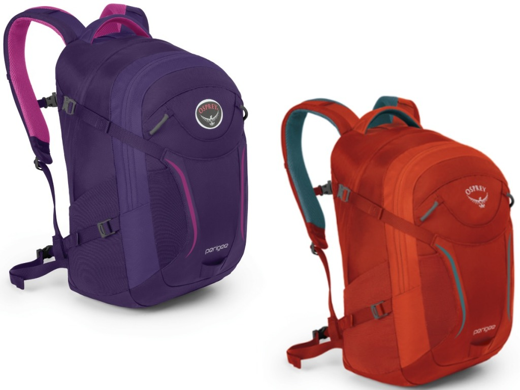 a purple and orange backpack on white background