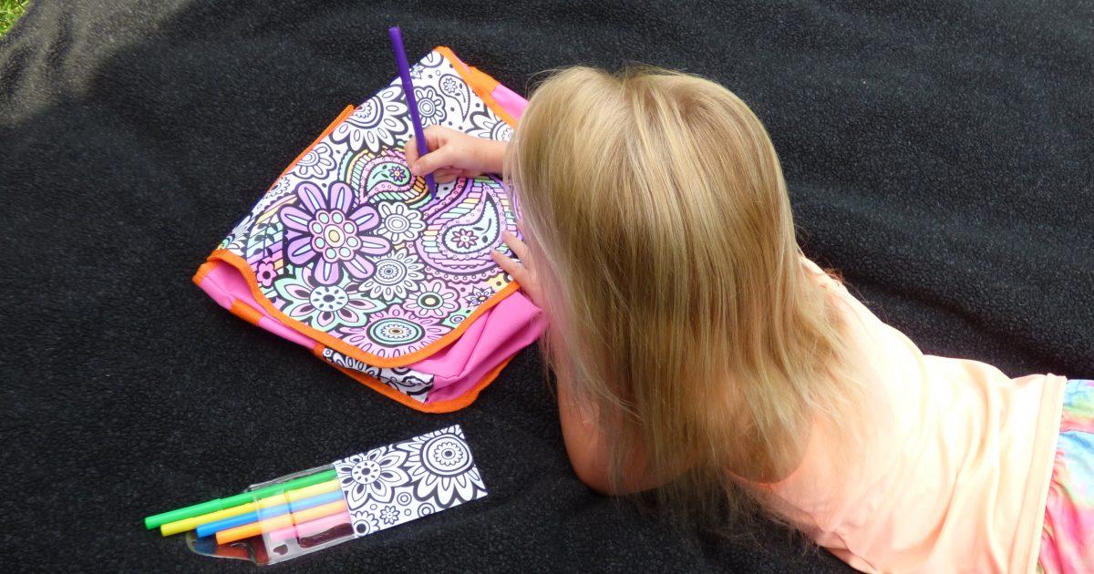 girl coloring Alex Toys Color a Flower bag