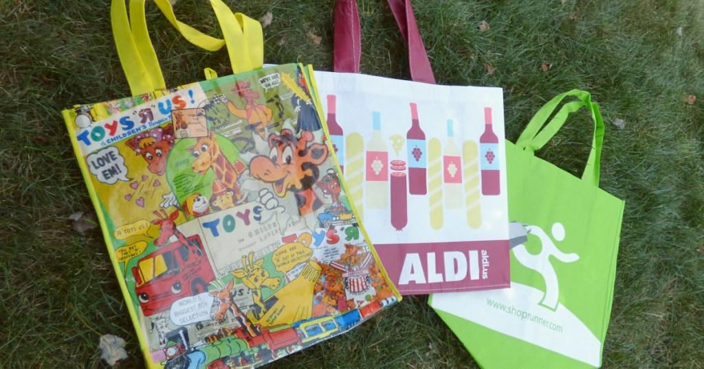 three reusable shopping bags