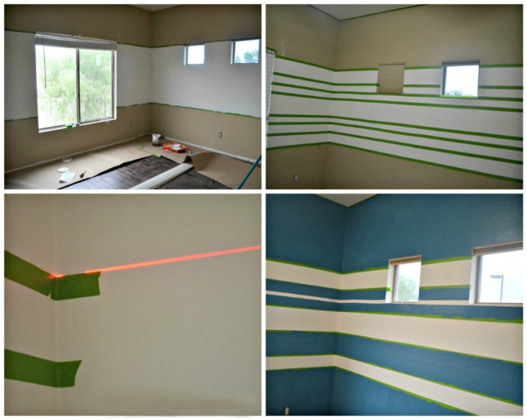 process of painting solid stripes using FrogTape