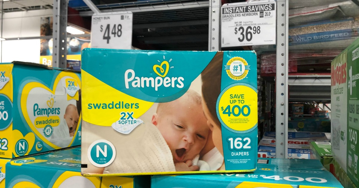 Large Sam's Club pack of Pampers Swaddlers for Newborns