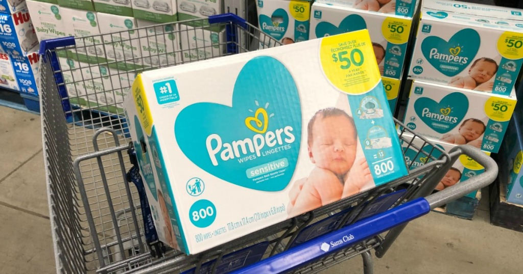 Pampers brand wipes in club size box at Sam's Club in cart