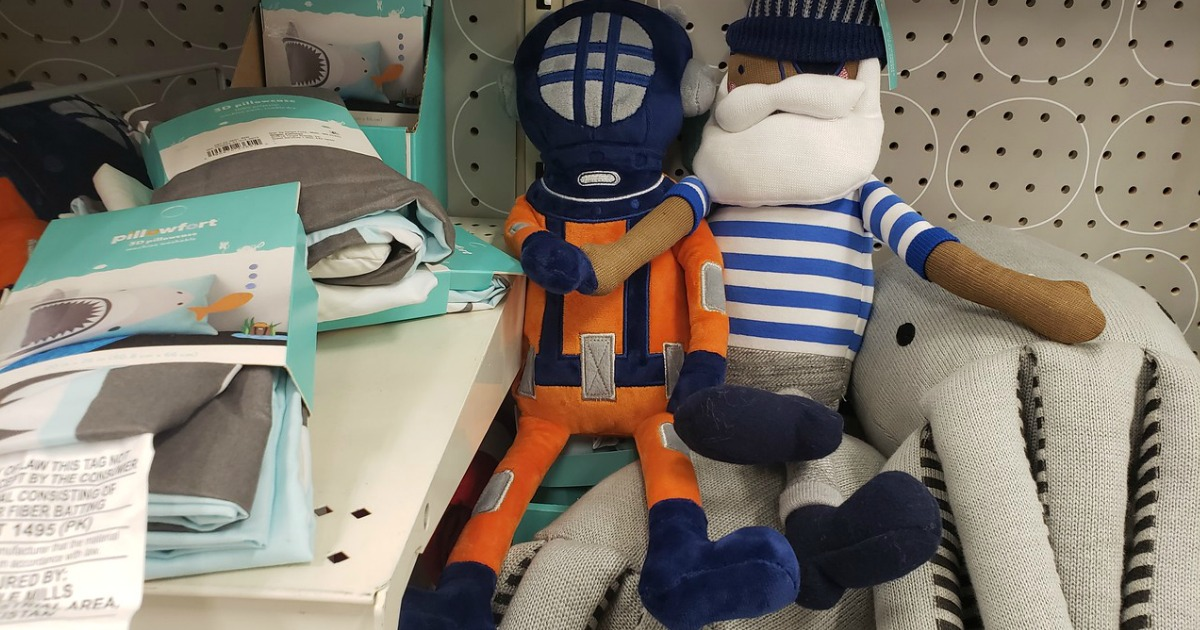 deep sea diver and sailor throw pillows for kids