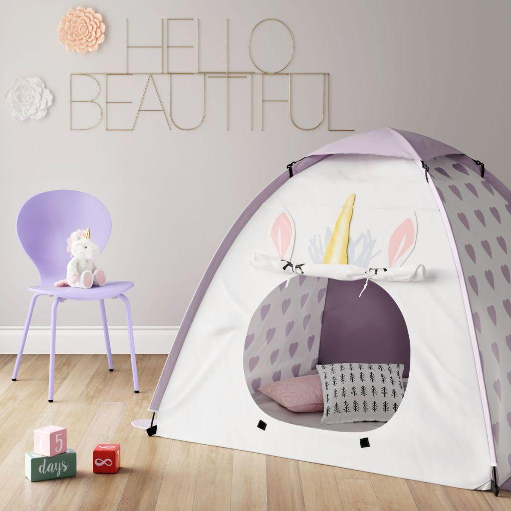 unicorn tent in playroom