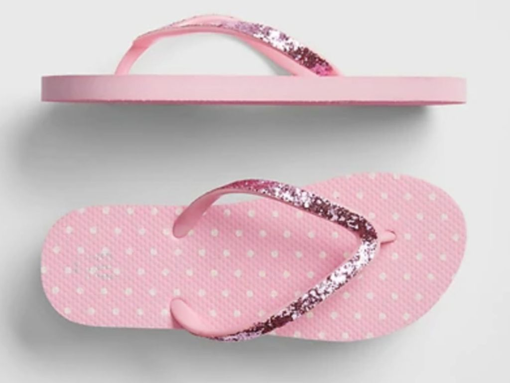 Pink polka dot with glitter straps flip flops gap