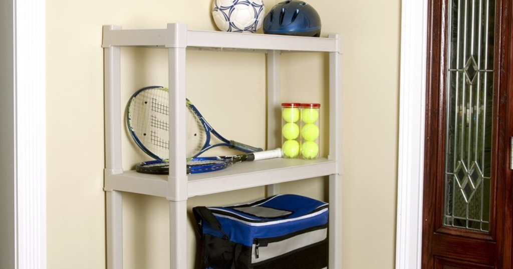 sports equipmnt on plano shelves