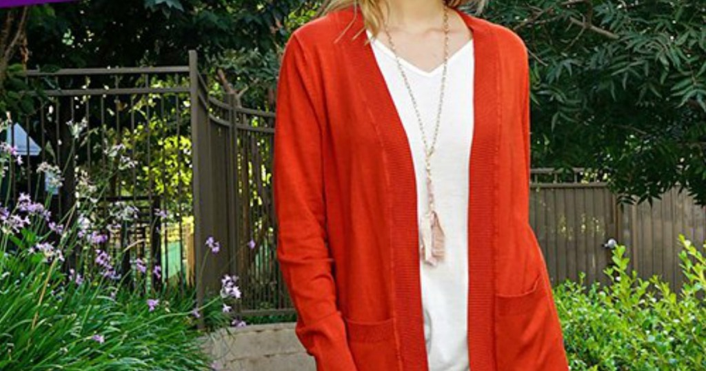Pocket-front open-cardigan in red