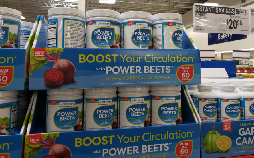 Store display of Nu-Therapy Power Beets Juice Powder Instant Savings at Sam's Club