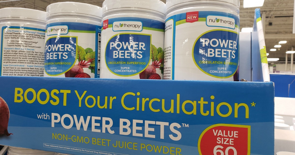 Store display of Nu-Therapy Power Beets Juice Powder at Sam's Club
