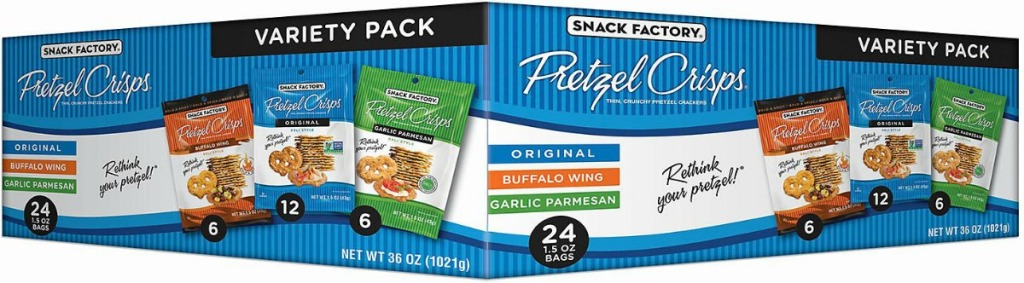 Variety pack of pretzel crisps with three flavors