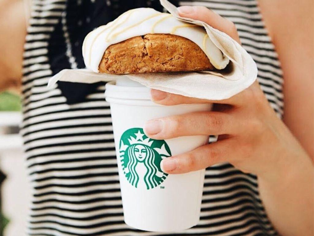 Pumpkin Scone Starbucks cup in hand