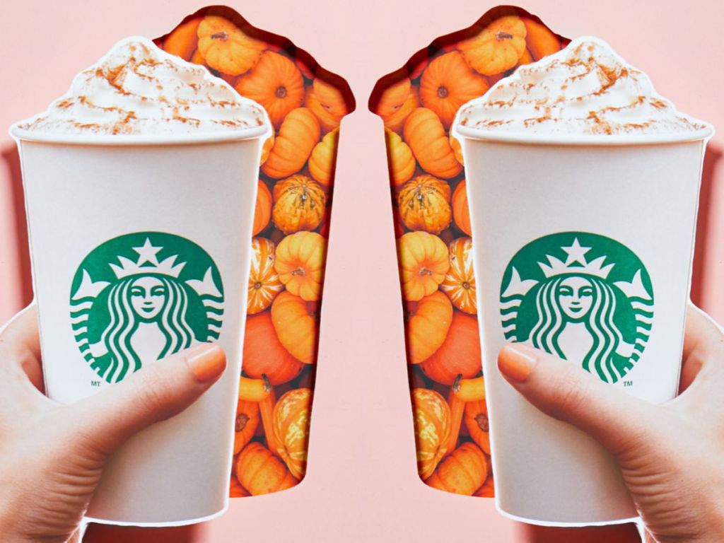 Pumpkin Spice Latte Starbucks with pink background and pumpkins
