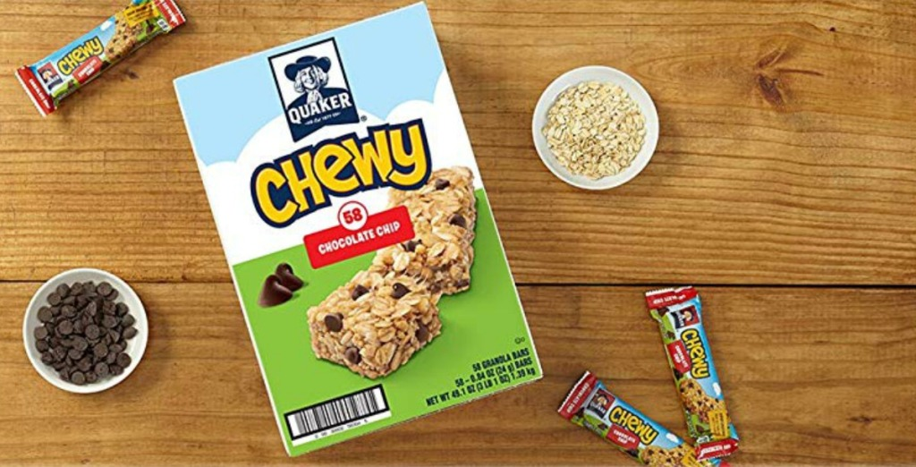 Quaker brand granola bars in chocolate chip large pack on counter