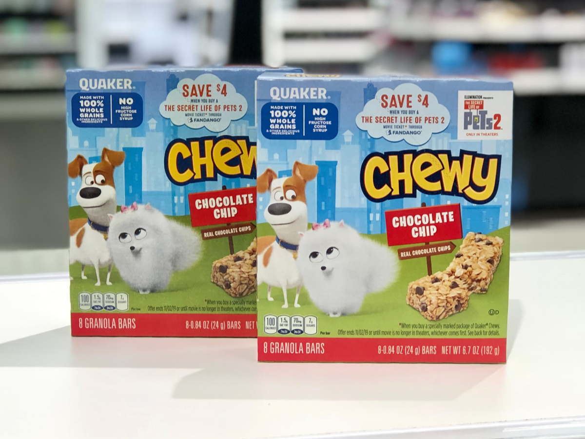 two boxes of Quaker Chewy granola bars