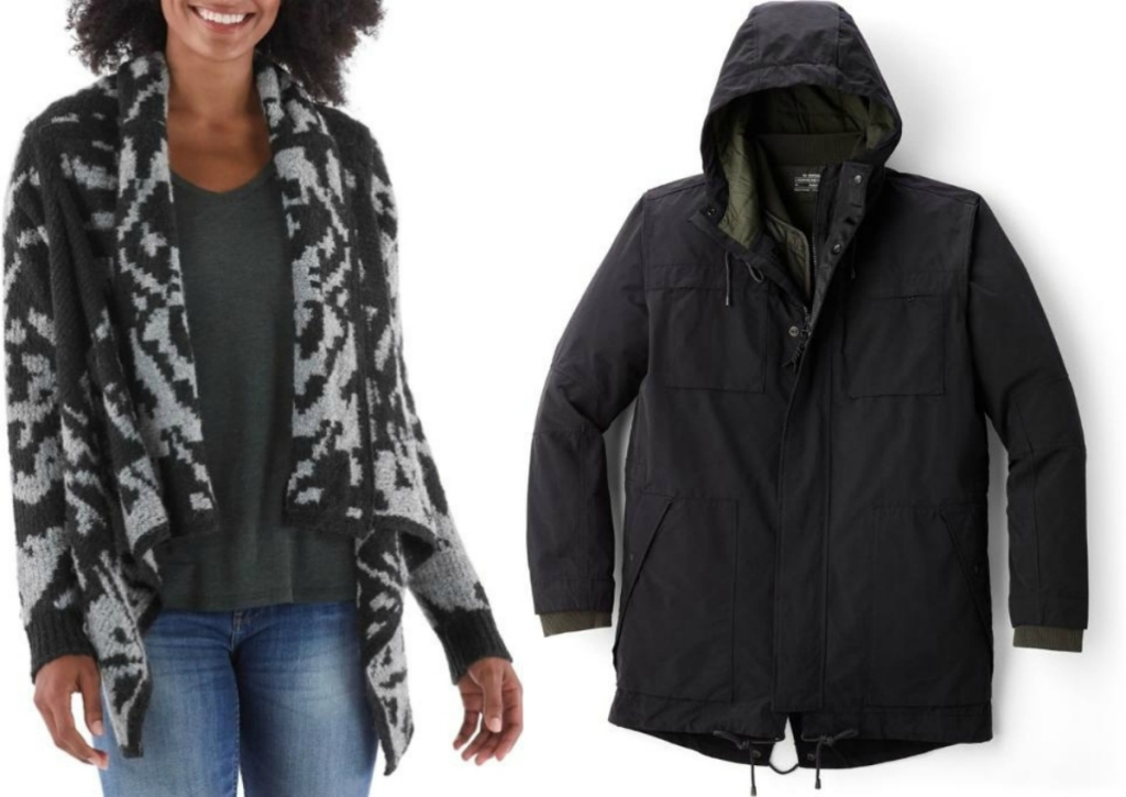 REI women's sweater and men's jacket