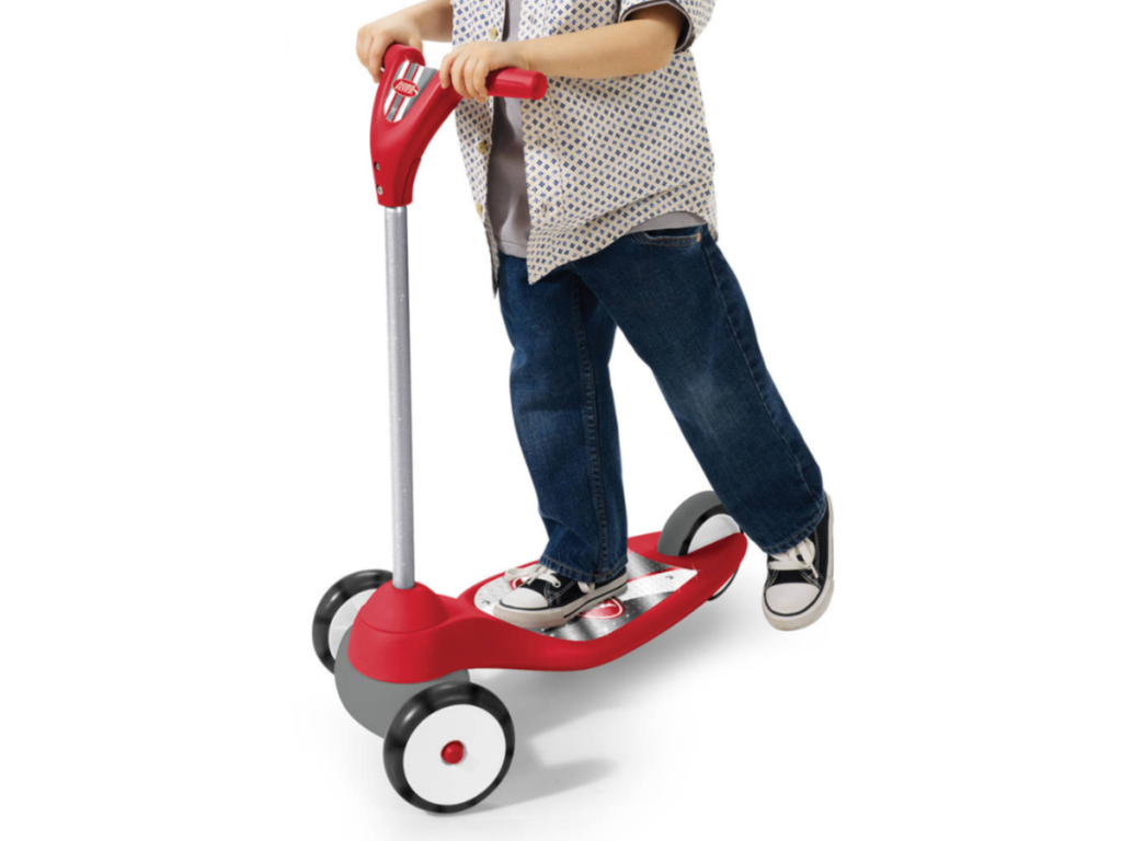 Radio Flyer My 1st Scooter Red with boy riding