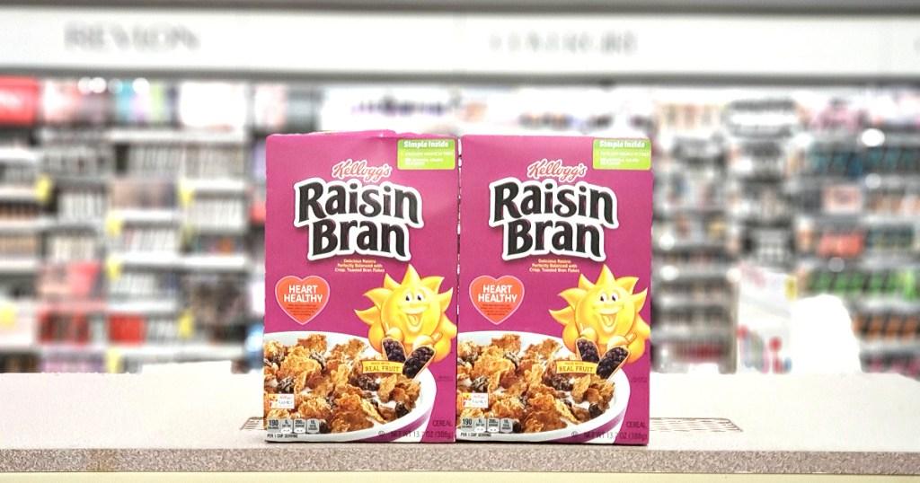 boxes of raisin bran on shelf at store