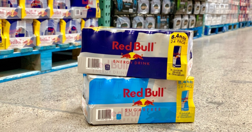 Red Bull packs stacked on top of each other in store