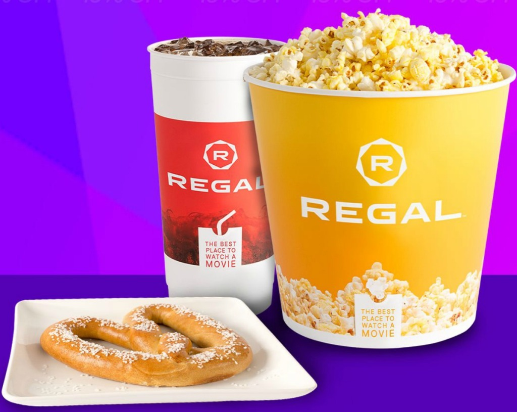 Regal Theater Large Popcorn and Drink plus a soft pretzel
