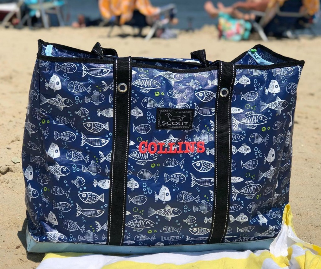 Personalized SCOUT Bags brand tote bag on the beach with fish print