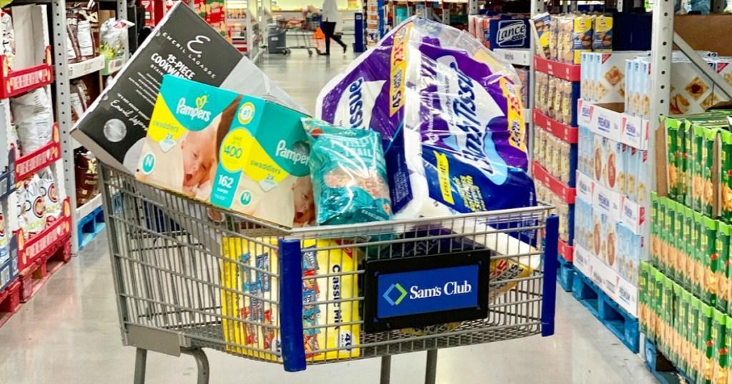 Sam's Club Cart full of bulk items