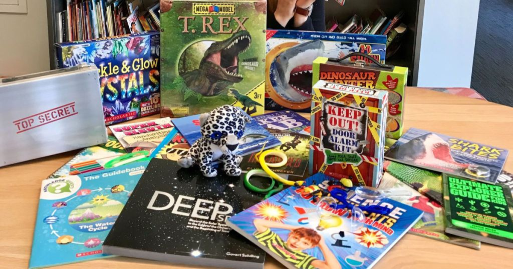 Scholastic Science Books on table