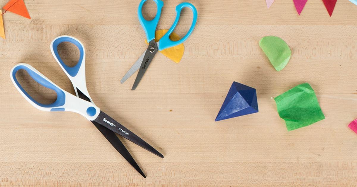 Scotch Titanium Scissors on table with kid's scissors