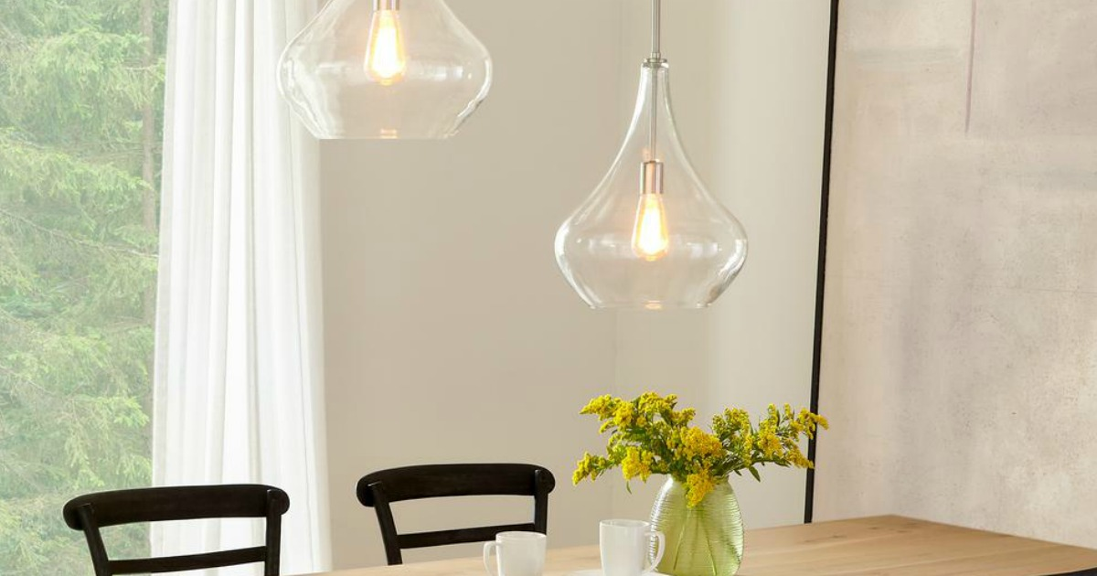 dining room with glass lights