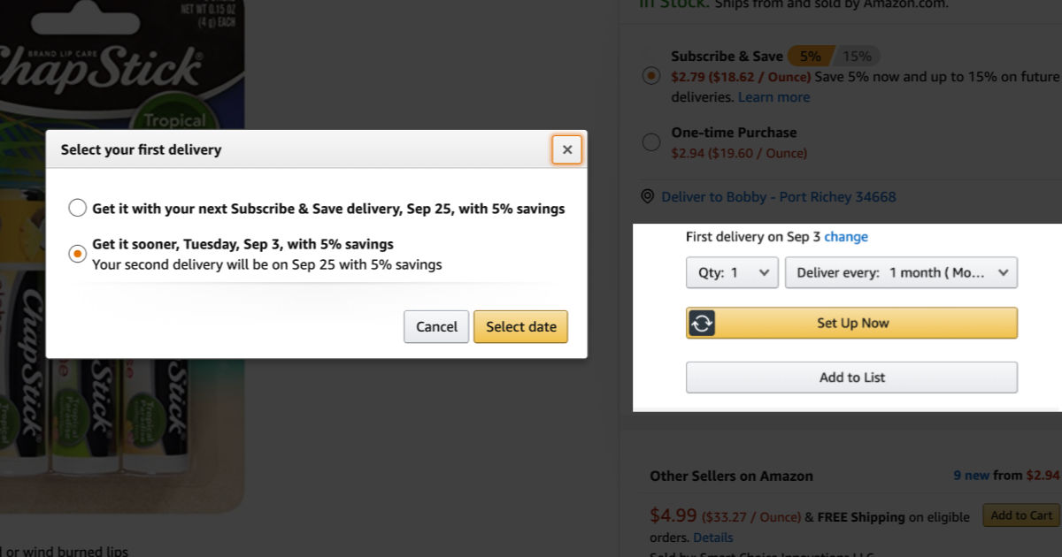 Screen shot of Amazon subscribe and save delivery options with chapstick in the background