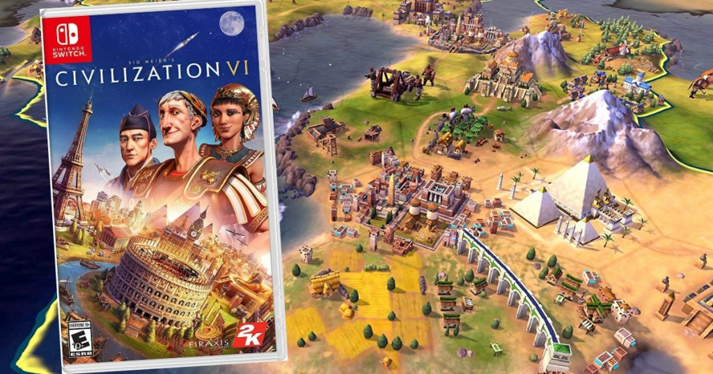 Sid Meier's Civilization VI Nintendo Switch game cover over screen grab of game play