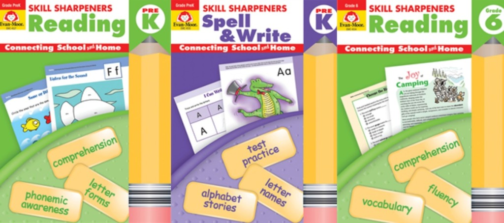 Evan Moor brand activity books for various grades